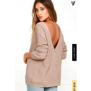 Lulus Just For You Light Brown Backless Sweater